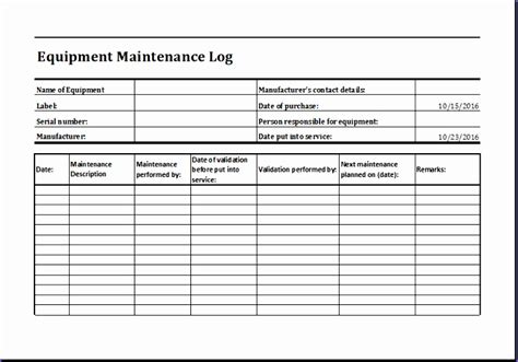 equipment maintenance schedule template 11 equipment maintenance log exceltemplates exceltemplates