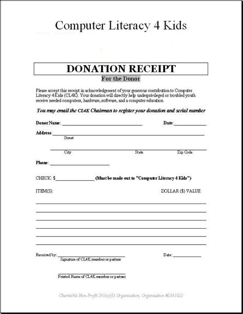 salvation army donation receipt template donations to computer literacy 4 cl4k