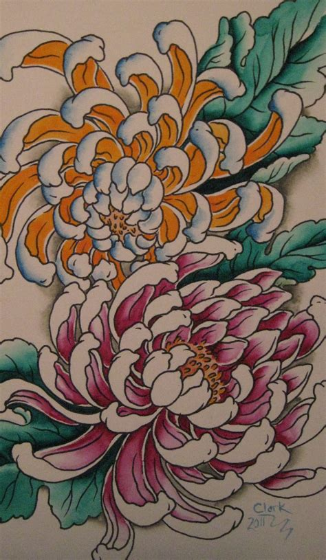 chrysanthemum flower tattoo chrysanthemum outline