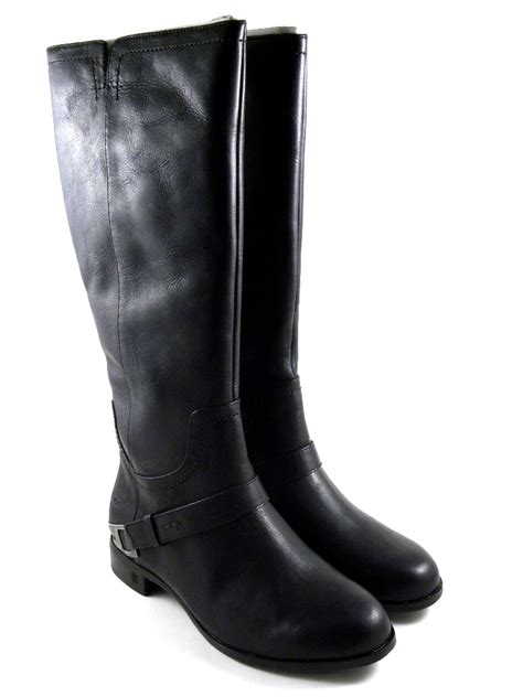 ugg austrlaia channing ii black leather winter boots