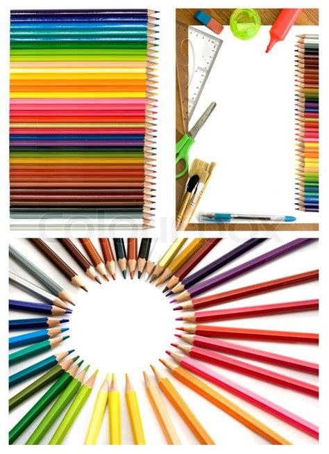 colorful office supplies colorful pencils and office supplies collage stock photo