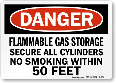 fuel storage no smoking sign osha danger sku s 1846 flammable gas storage sign secure all cylinders no