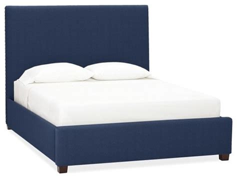 navy upholstered bed raleigh upholstered square bed headboard with nailhead