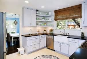 Modern kitchen with cool corner floating shelves design ub kitchens
