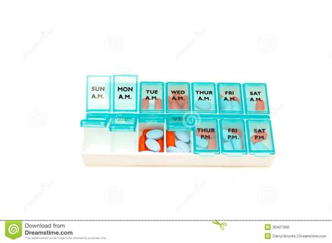 pill room daily pill container on white royalty free stock photos image 30427368