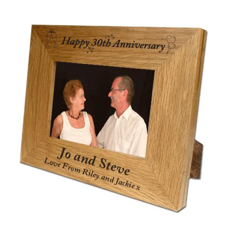 Wedding Anniversary Gifts Oak by Engraved Oak Wooden Photo Frame 30th Wedding Anniversary