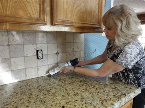How To Install A Kitchen Backsplash Video by Grouting A Backsplash To Countertop Joint With Latex