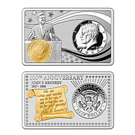 Coin Set By Cm jfk 100th anniversary silver bar and half dollar coin set with custom mahogany finish display