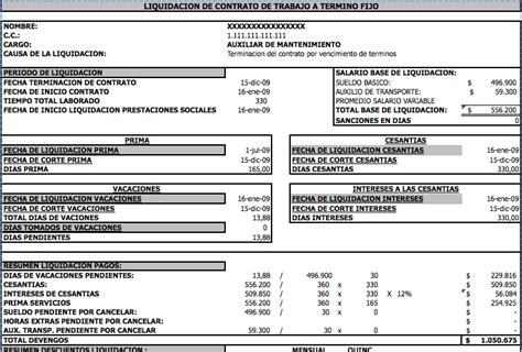 ejemplo de liquidacion de empleada de servicio liquidaci 243 n modelos y formatos