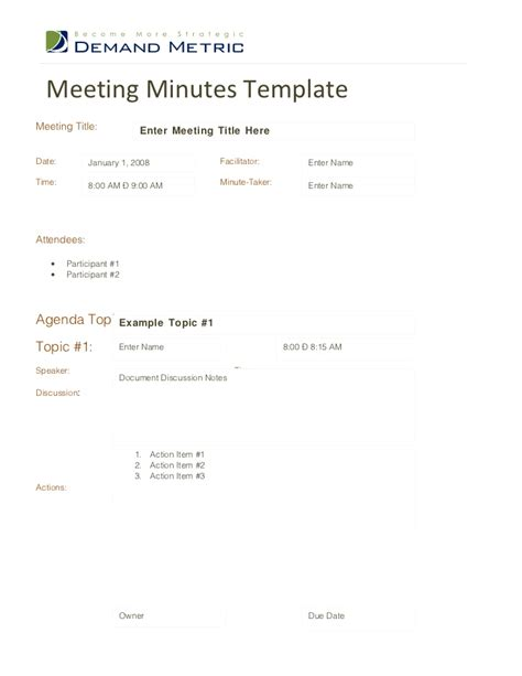 minutes of the meeting template meeting minutes template