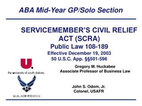section 42 of specific relief act ppt about scra servicemembers civil relief act
