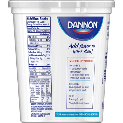 Dannon Light And Fit Yogurt Nutrition by Dannon Vanilla Yogurt Nutrition Facts Nutrition Ftempo