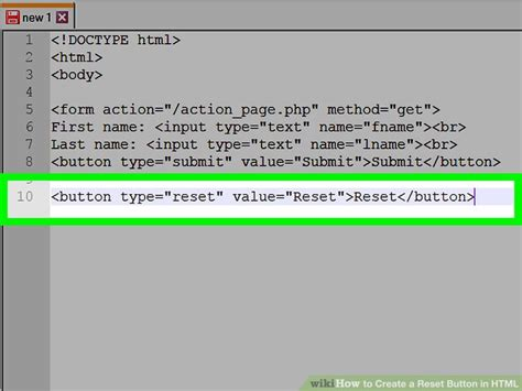 html button reset how to create a reset button in html 5 steps with pictures