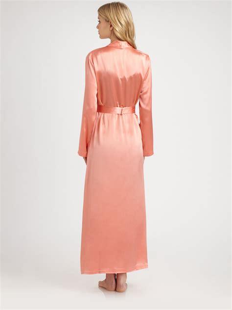 la perla robe la perla silk robe in orange lyst