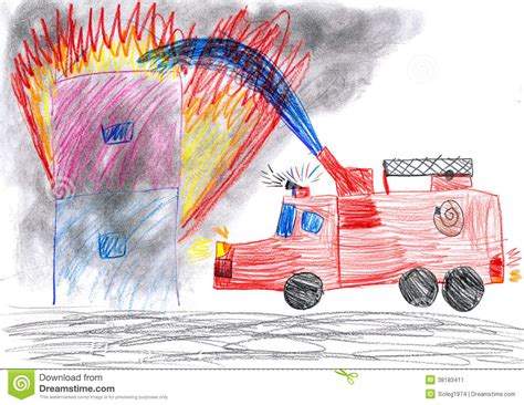 Vase With Flowers Coloring Page Fire Truck Rescues House Child Drawing Stock Image