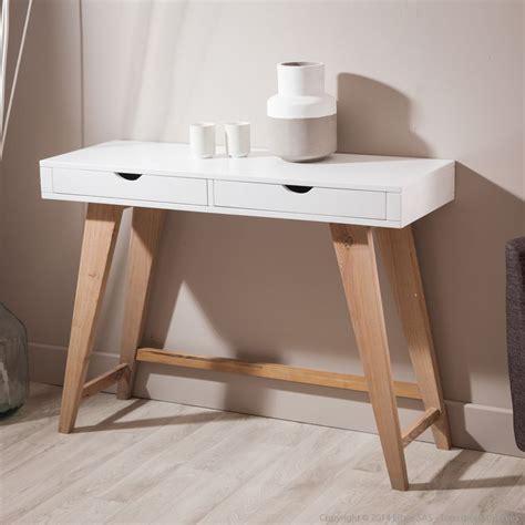 console de chambre console en bois avec 2 tiroirs pablo kaligrafik meubles