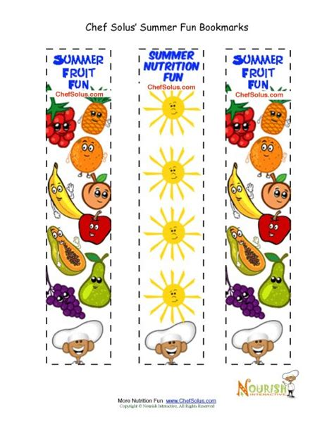 free printable nutrition bookmarks bookmarks summertime colorful make your bookmarks