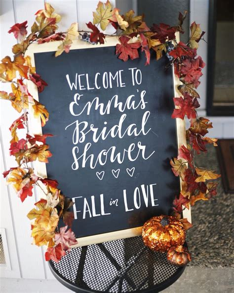 fall themed bridal shower decorations chalkboard welcome sign to bridal shower fall in