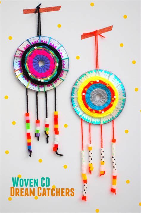 arts crafts make a woven cd catcher pink stripey socks