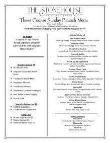 Cocktail Party Food Menu - brunch menu the stone house