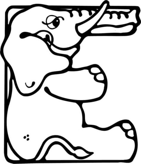 Letter E Coloring Page by Dibujo De Letra E De Elefante Para Colorear Dibujos Para