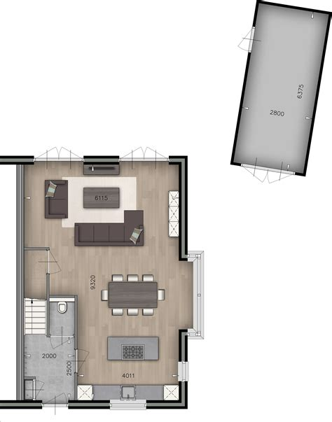 woonkamer keuken plattegrond woonkamer keuken wc garage designer