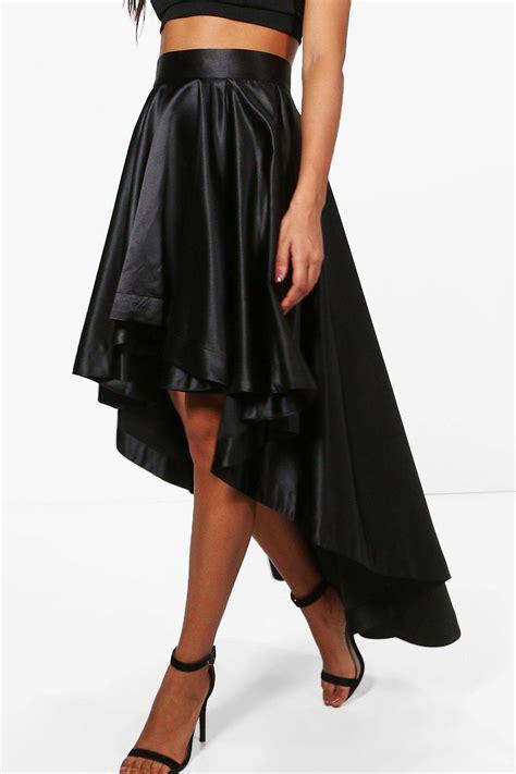 boohoo womens annia satin dipped hem maxi skirt