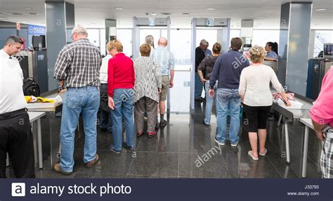 Cruise Line Security by Cruise Ship Passengers At Security Check Point Before Boarding Ship Stock Photo Royalty Free