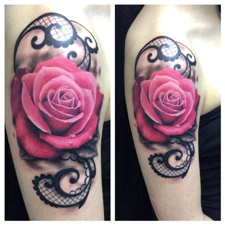 hot pink rose tattoo ravi lassi s designs tattoonow