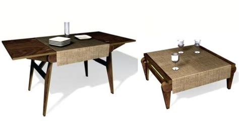 wooden dining table folds to become a low coffee table