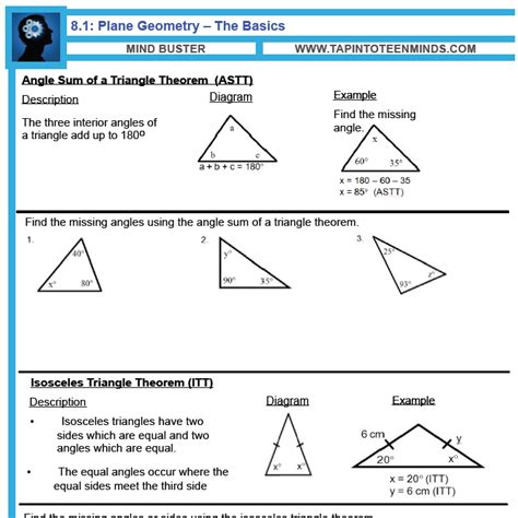 Lines Angles And Triangles Worksheet Answers by 8 1 Angle Relationships In Triangles And Parallel Lines