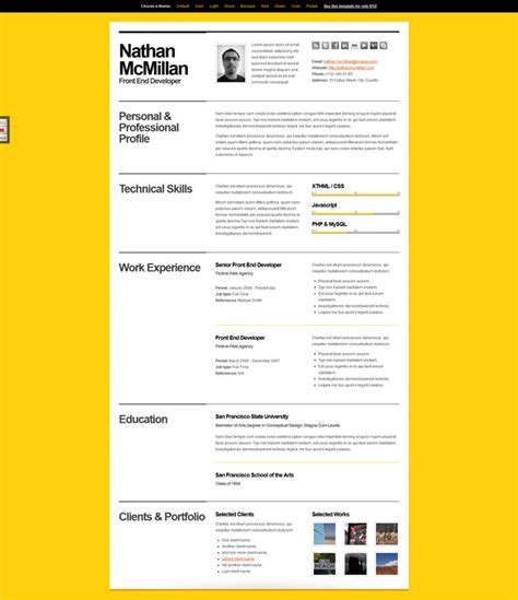 Curriculum Vitae Web Page Design | a few interesting resume cv website designs