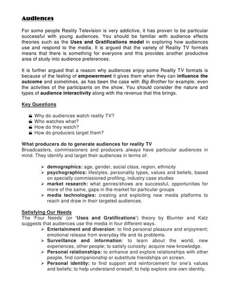 tv show pitch template reality tv revision
