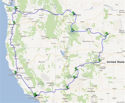 road map of western usa united states road trip map