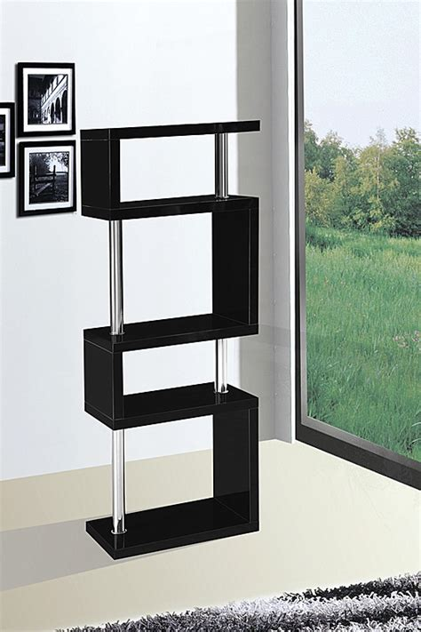 Miami 5 Tier Shelving unit in Black High Gloss   Allans Furniture Warehouse