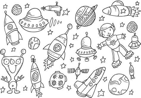 doodles in outer space fototapete outer space sketch doodle vector set umrisszeichnung pixers de
