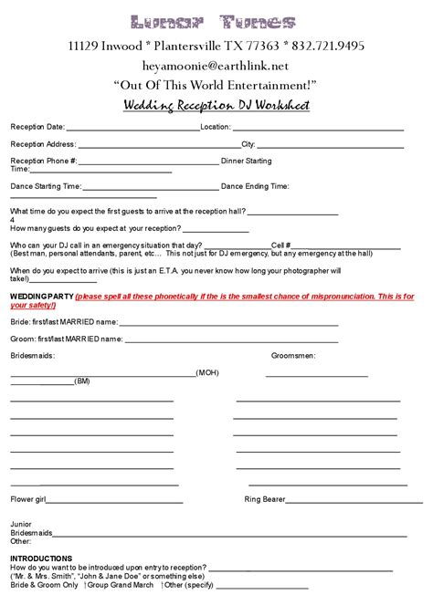 printable wedding dj checklist dj music worksheet wedding pinterest