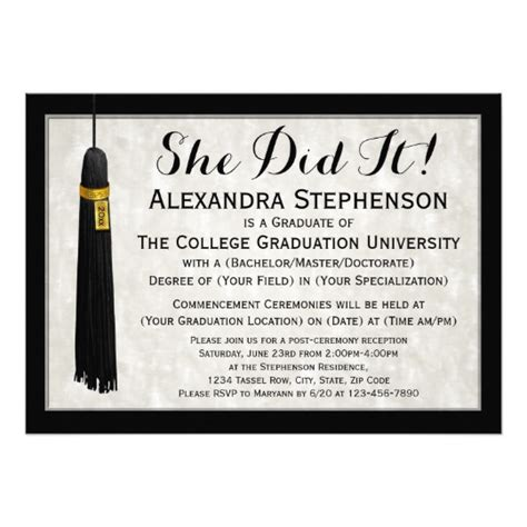 college graduation card templates she did it tassel college graduation card zazzle