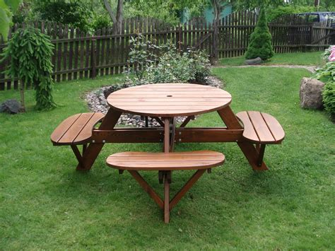 backyard picnic table how to build a round picnic table with seats ebay