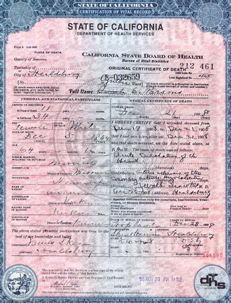 California Vital Records Birth Certificate Application Copy Of Certificate California Images Frompo