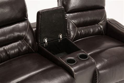 leather recliner with cup holder mcombo home theater leather 4 set recliner media sofa w