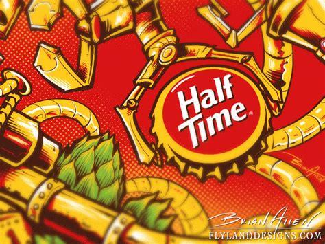 design beer label illustrator silk screen growler illustration for half time brewing