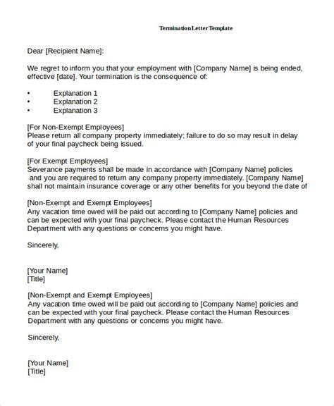termination letter return company property employee termination letter 10 free premium templates