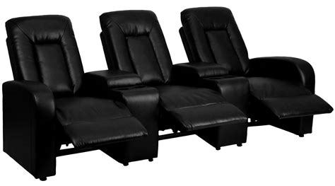 black leather theater recliner black leather 3 seat home theater console recliner from