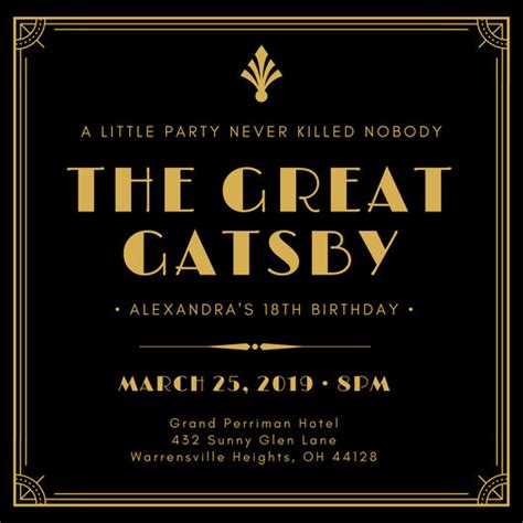 great gatsby invitation templates canva