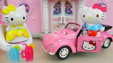 hello kitty house youtube hello kitty house and car toys with baby doll play youtube