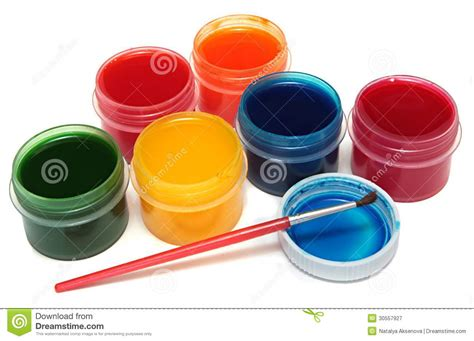 paint images children s paints in jars and brush royalty free stock