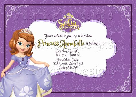 sofia the birthday card template sofia the printable birthday invitation princess