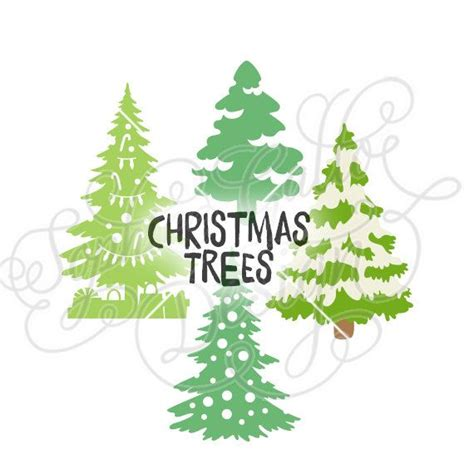 christmas dxf free trees design svg dxf digital file silhouette cricut vector graphics clip