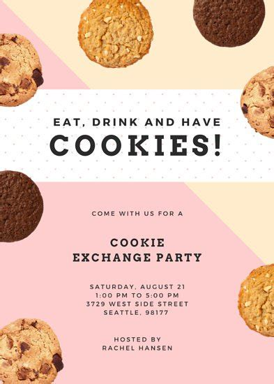 Cookie Exchange Party Flyer Templates By Canva Cookie Flyer Template Free